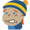 avatars, boy, cartoon, cold, emoji, emoticons icon
