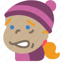 avatars, cartoon, cold, emoji, emoticons, girl icon