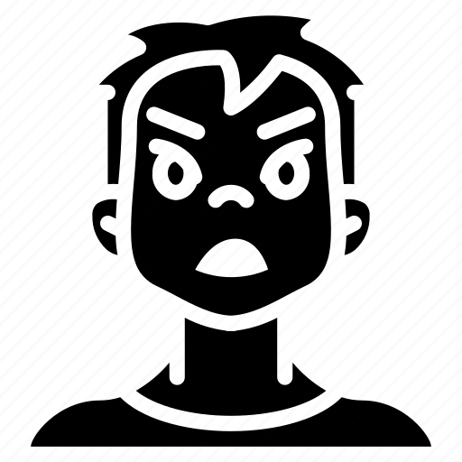 angry, avatars, boy, cartoon, emoji, emoticons icon