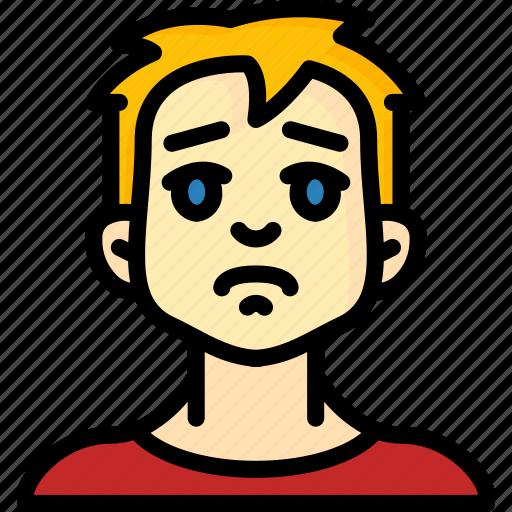 Avatars, boy, cartoon, emoji, emoticons, sad icon - Download on Iconfinder