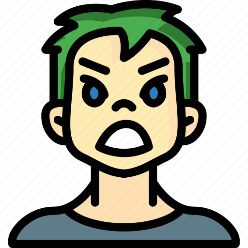 angry, avatars, boy, cartoon, emoji, emoticons icon