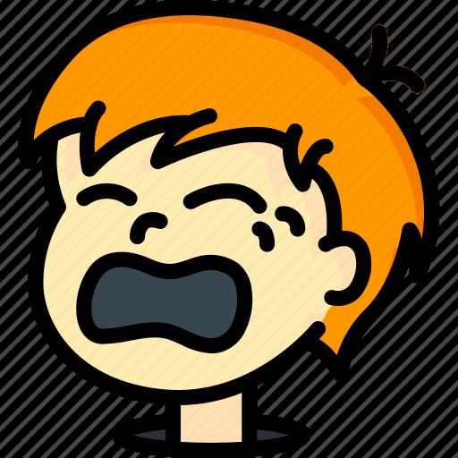 avatars, boy, cartoon, crying, emoji, emoticons icon