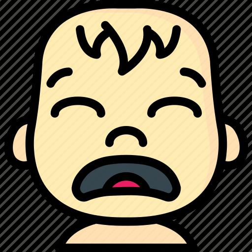 avatars, baby, cartoon, emoji, emoticons, sad icon