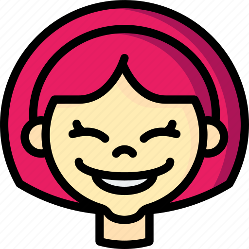 avatars, cartoon, emoji, emoticons, girl, happy icon
