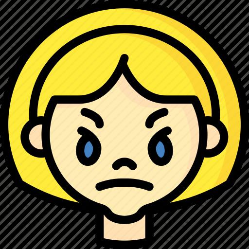 angry, avatars, cartoon, emoji, emoticons, girl icon