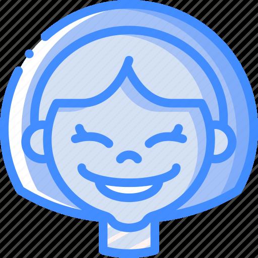avatars, cartoon, emoji, emoticons, girl, happy icon