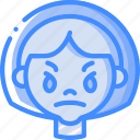 angry, avatars, cartoon, emoji, emoticons, girl icon