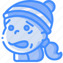 emoticons, avatars, cartoon, cold, girl, emoji