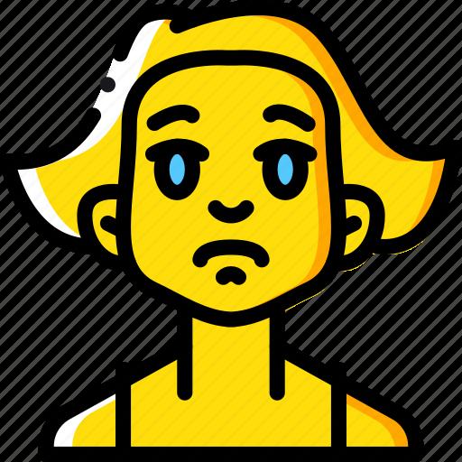 Avatars, cartoon, emoji, emoticons, girl, sad icon - Download on Iconfinder