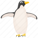 feather creature, arctic animal, fowl, emperor penguin, penguin