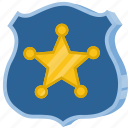 badge, police, sheriff, shield, star icon