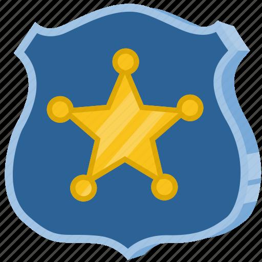 badge, police, sheriff, shield, star icon