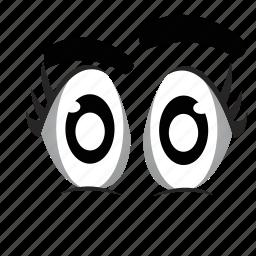 cartoon, eyeball, eyes, looking, watching icon