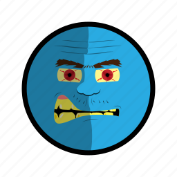 angry, blue, face, mad, ugly icon