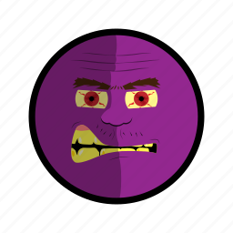 angry, face, mad, purple, ugly icon