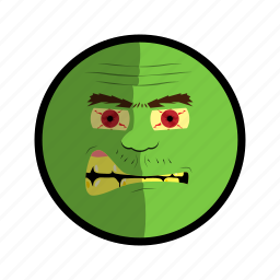 angry, face, green, mad, ugly icon