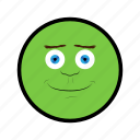 face, green, happy, nice, smile icon