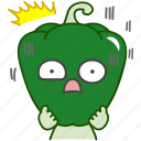 capsicum, emoji, emoticon, green, pepper, scared, vegetable icon