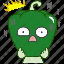 capsicum, emoji, emoticon, green, pepper, scared, vegetable