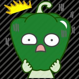 capsicum, emoji, emoticon, green, pepper, scared, vegetable icon