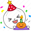 birthday, cake, emoji, emoticon, onion, party, vegetable