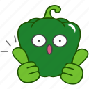 best, capsicum, emoji, emoticon, green, pepper, vegetable icon
