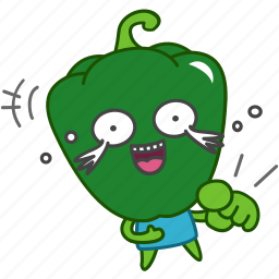 capsicum, emoji, emoticon, green, laugh, pepper, vegetable icon