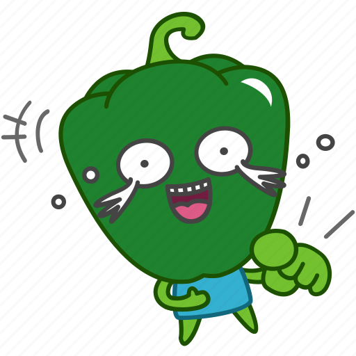 capsicum, emoji, emoticon, green, laugh, pepper, vegetable icon