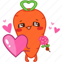 carrot, emoji, emoticon, heart, love, rose, vegetable icon