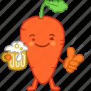 beer, carrot, drinks, emoji, emoticon, happy, vegetable