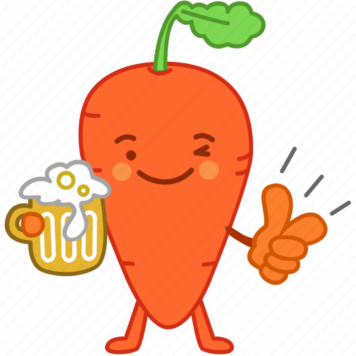 beer, carrot, drinks, emoji, emoticon, happy, vegetable icon