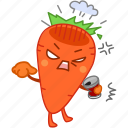angry, can, carrot, emoji, emoticon, upset, vegetable icon