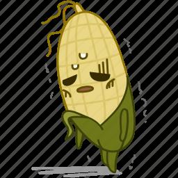 corn, emoji, emoticon, fatigue, maize, tired, vegetable icon