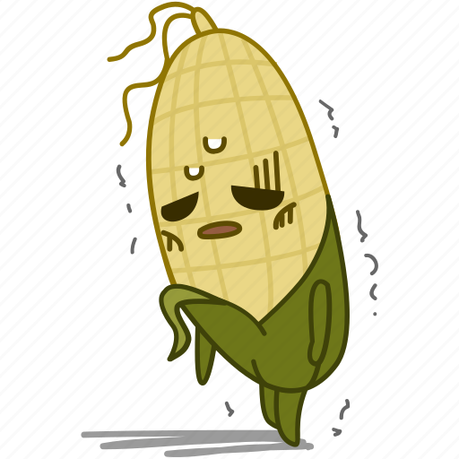 corn, emoji, emoticon, fatigue, maize, tired, vegetable icon