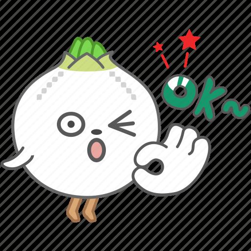 emoji, emoticon, happy, okay, onion, vegetable, wink icon