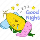 corn, emoji, emoticon, maize, night, sleeping, vegetable icon