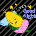corn, emoji, emoticon, maize, night, sleeping, vegetable