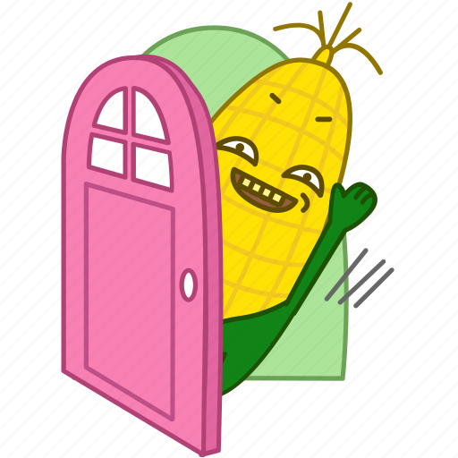 bye, corn, emoji, emoticon, hi, maize, vegetable icon