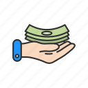 cash, money, money on hand, payment icon
