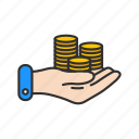 coins, coins on hand, money, payment icon