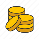 coins, gold coins, money, pile of coins icon