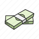 cash, dollar bills, money, pack of money icon