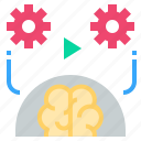 action, behavior, brain, execute, play icon