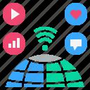 communication, internet, online, wireless, worldwide icon