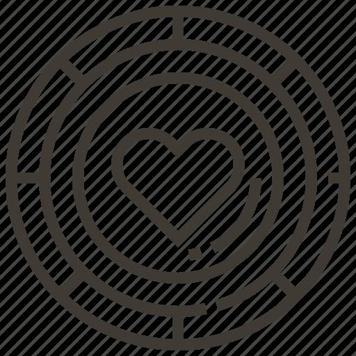 casino, chip, gambling, heart, love icon