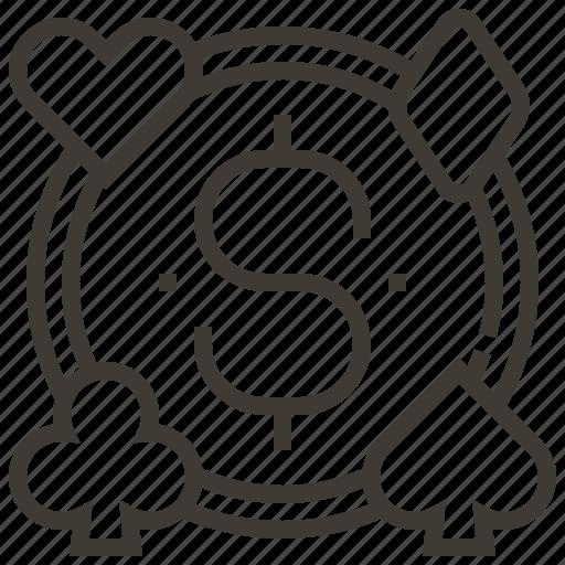 Casino, gambling, dollar, money icon