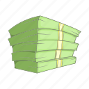 banking, cartoon, cash, currency, money, sign, stack icon