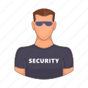 adult, cartoon, guard, male, protection, security, sign icon
