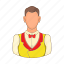 cartoon, casino, croupier, design, game, man, sign icon