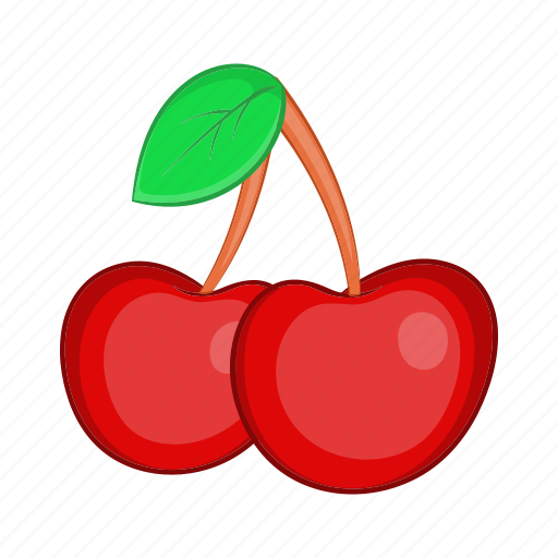 cartoon, cherries, food, fruit, red, sign, two icon